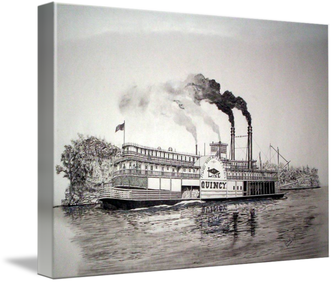 Riverboat drawing painting. Quincy by richard hall