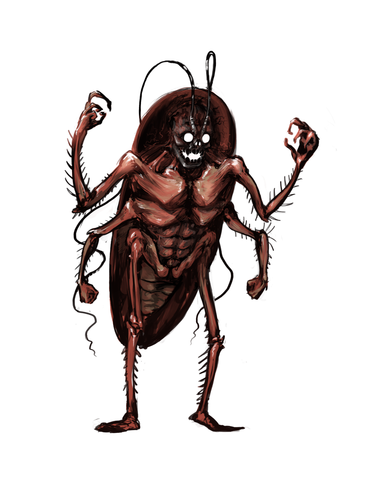 Roach drawing humanoid. Crimes against color look