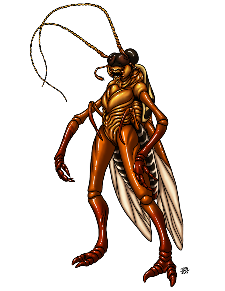 Roach drawing humanoid. Werecockroach by prodigyduck on