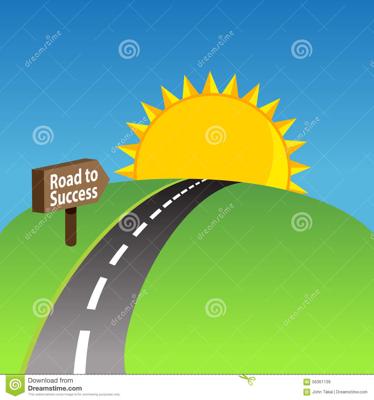 Road clipart success. To background stock vector picture free library