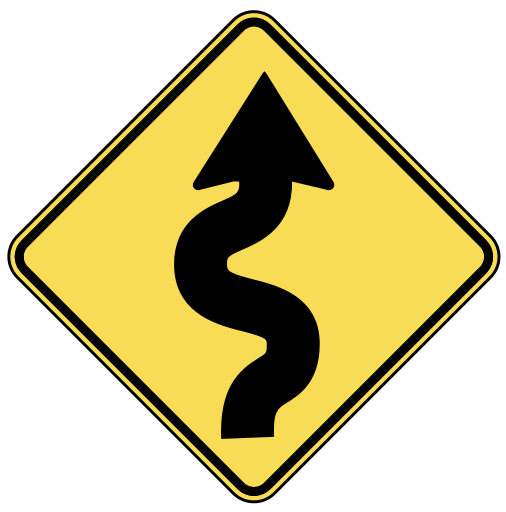Road signs png. Us w warning back