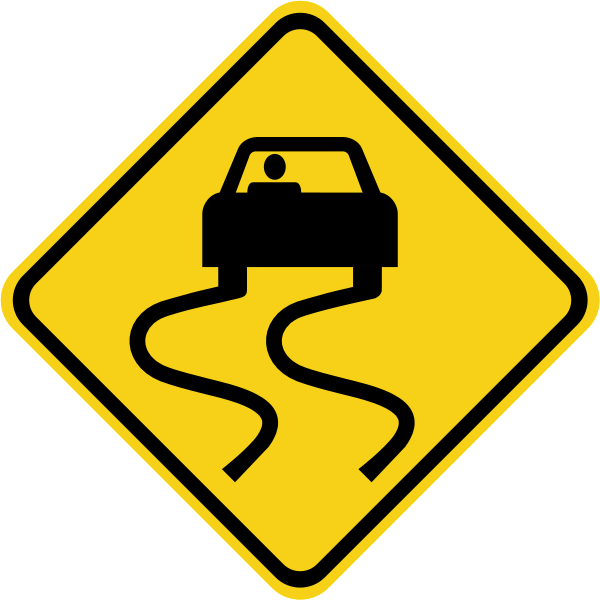Road svg sign. Px slippery de