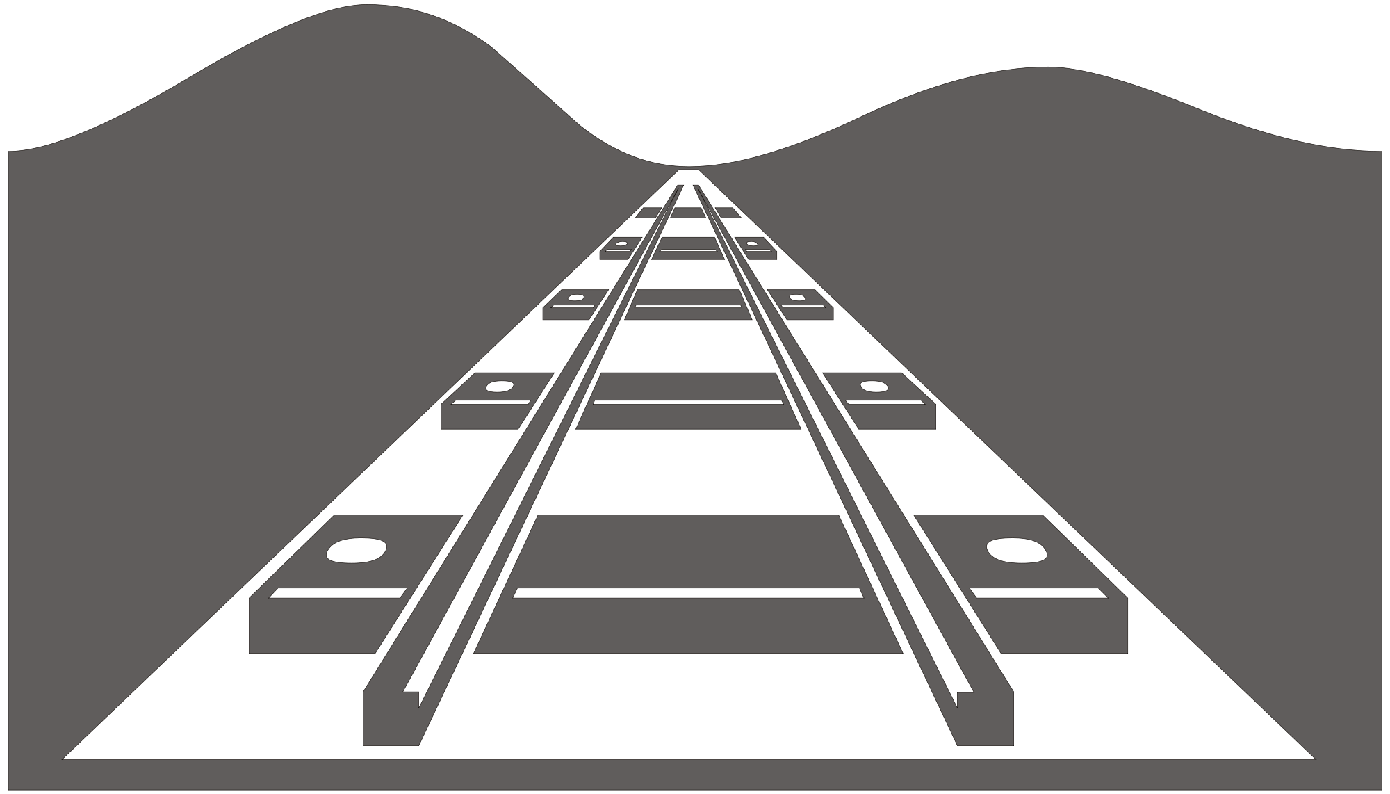 Road svg silhouette. File railway wikimedia commons vector black and white download