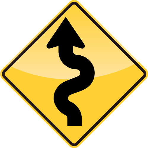 Roadsign vector. Winding road sign svg