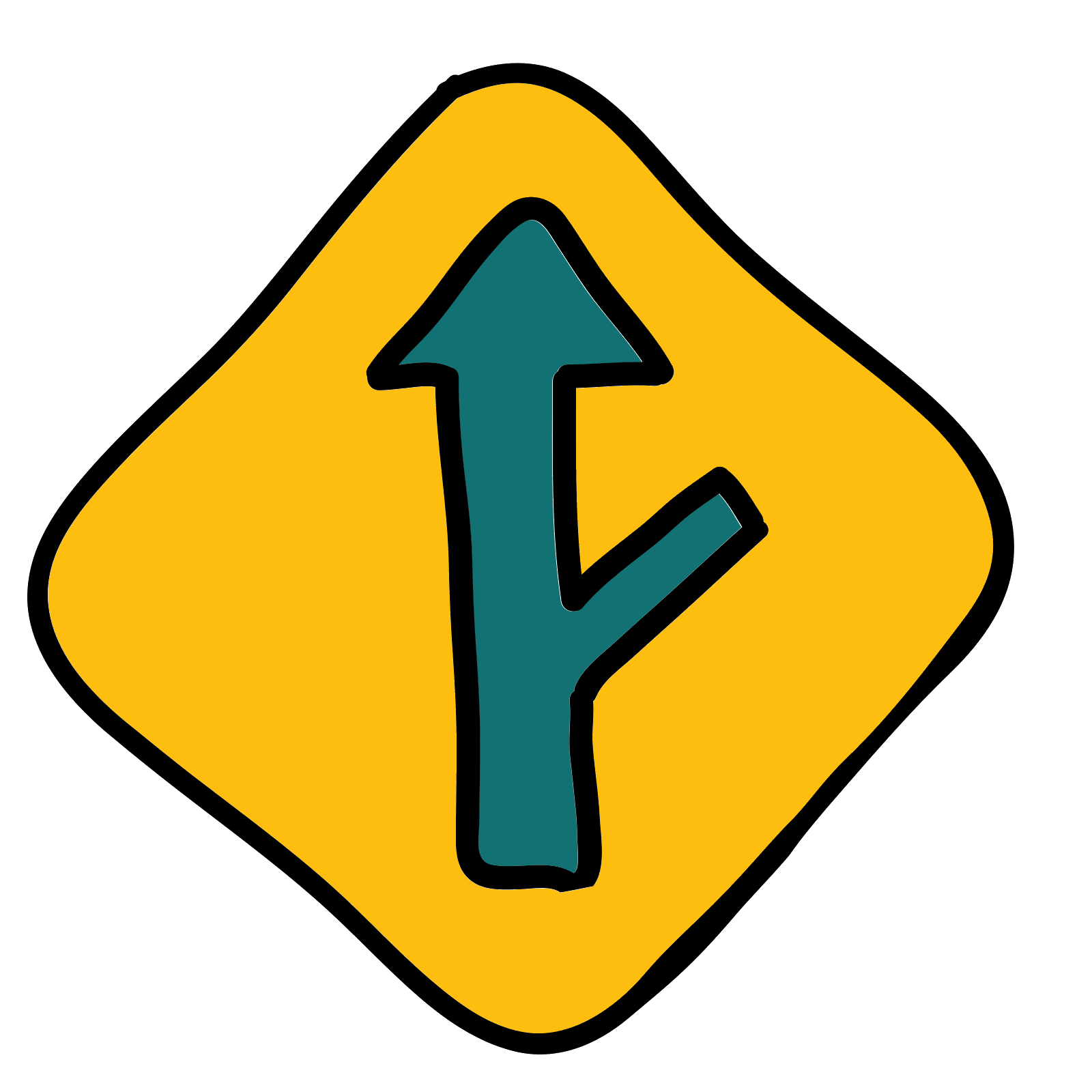Roadsign vector blue. Right y intersection road