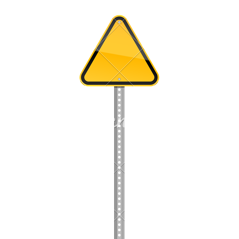 Pole vector road sign. Blank triangular icons by