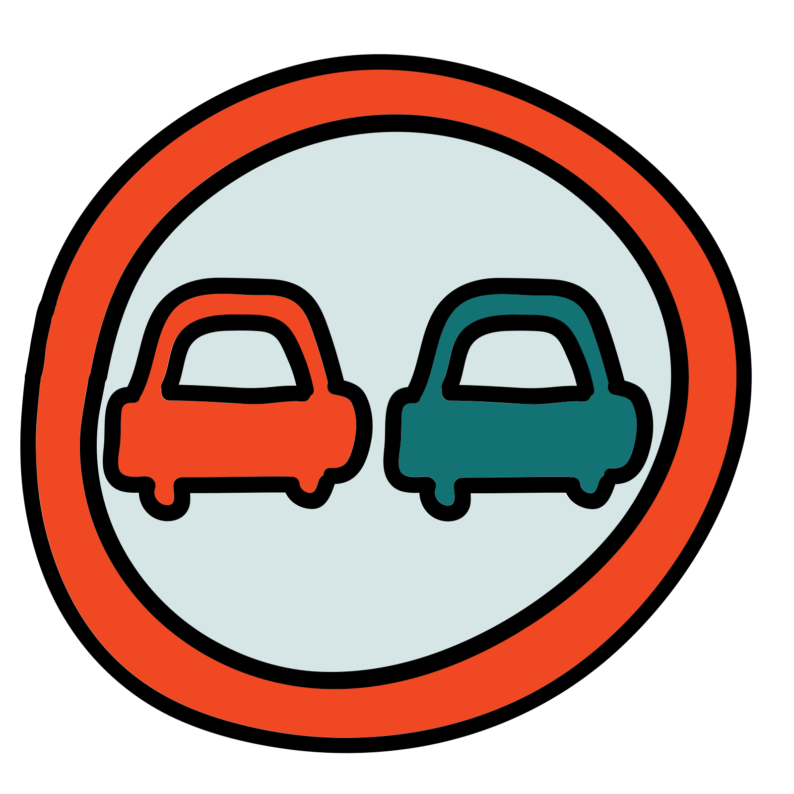 Roadsign vector road design. Sign no overtaking icon