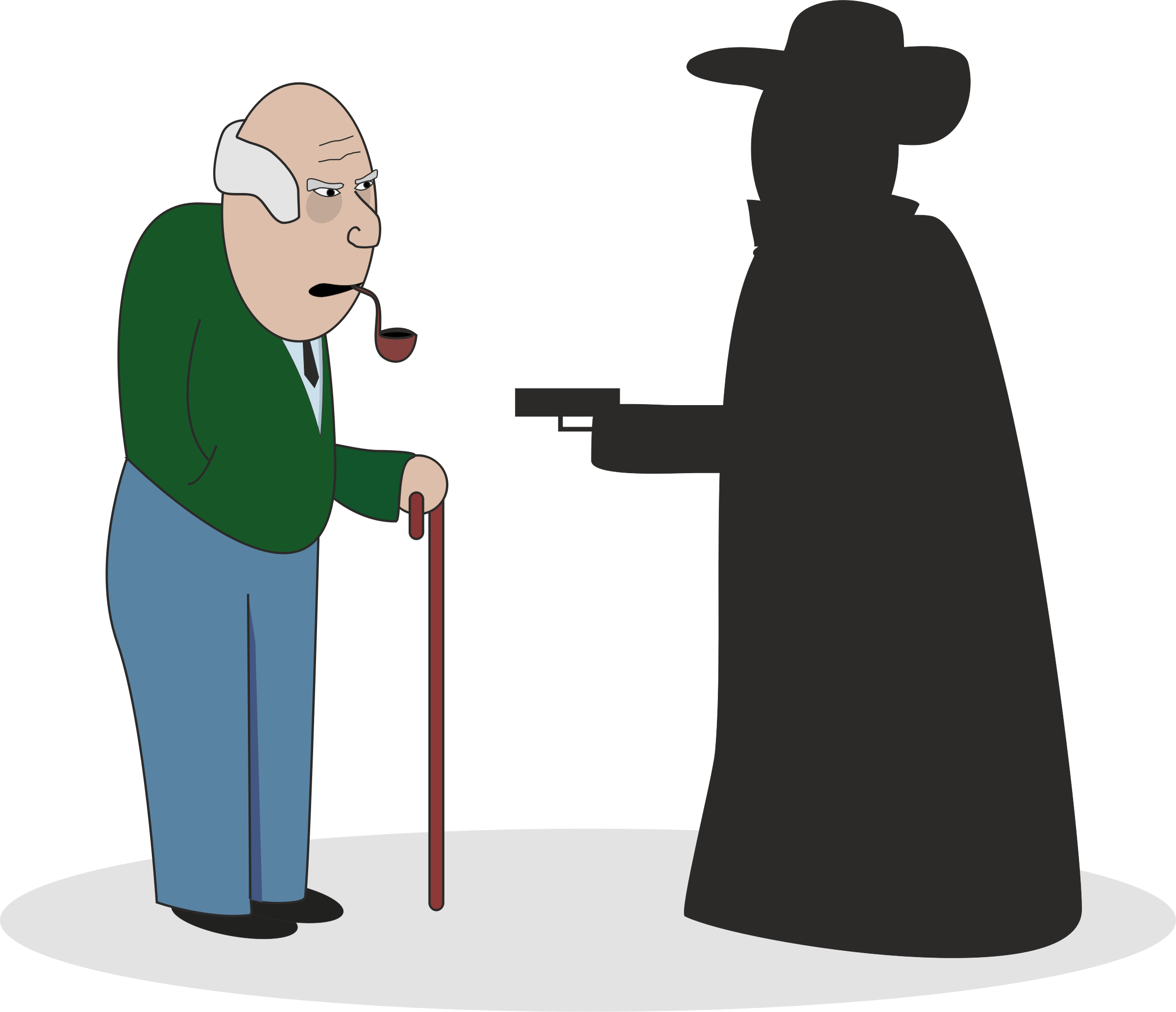 Robber clipart. Grandpa with big image