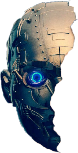 Robot face png. Halfface metal sticker by