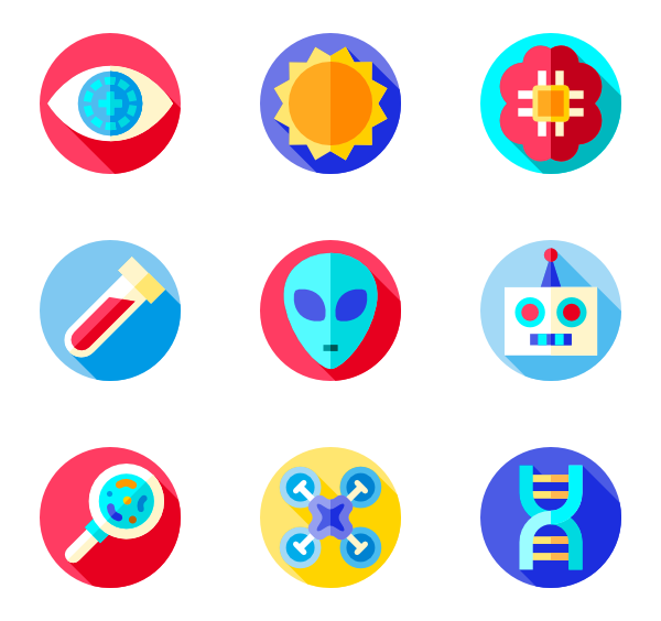 Futuristic vector profile. Robot icons free science