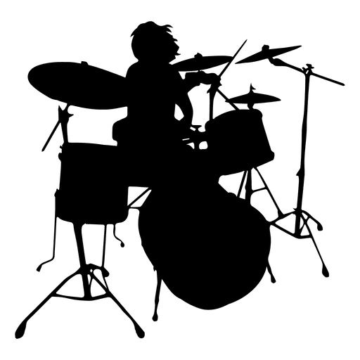 Rock band silhouette png. Drummer solo transparent svg
