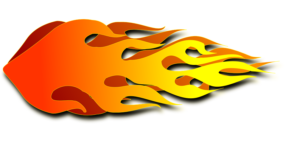 Fire clip horizontal. Collection of free flaming