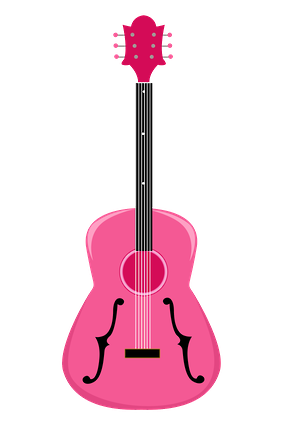 Typographic drawing guitar. Pink western cowboy cowgirl