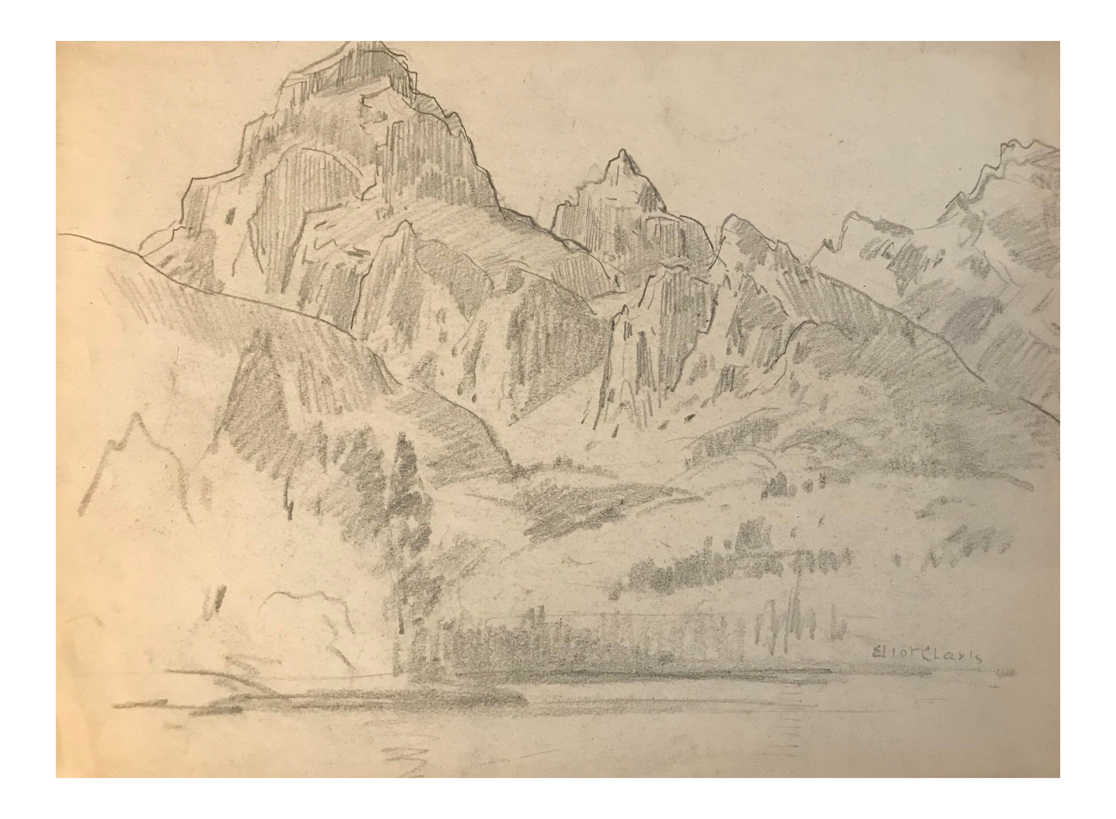 s mountain landscape. Rocky drawing original graphic library download