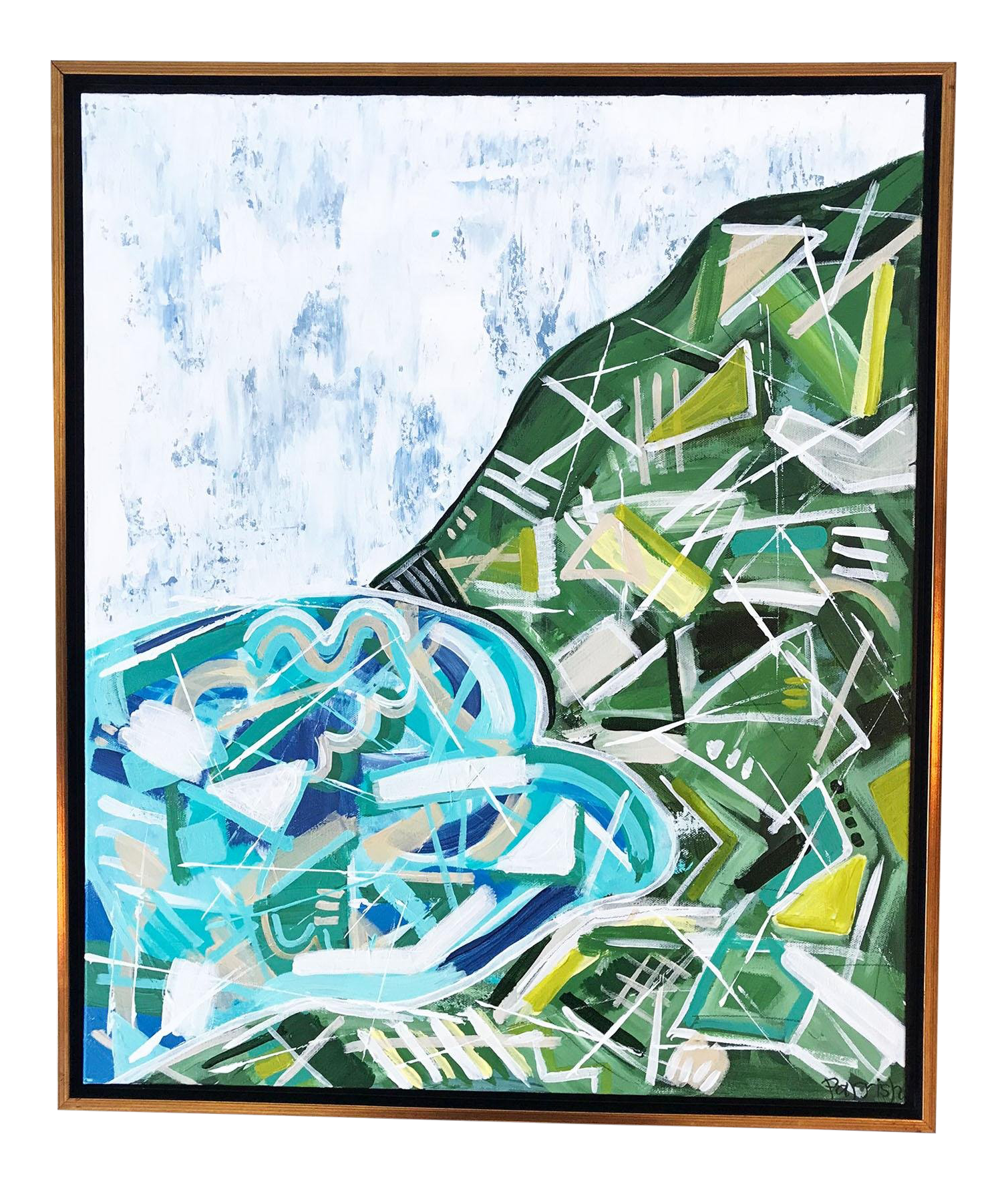 Rocky drawing original. Modern mountain glacier abstract