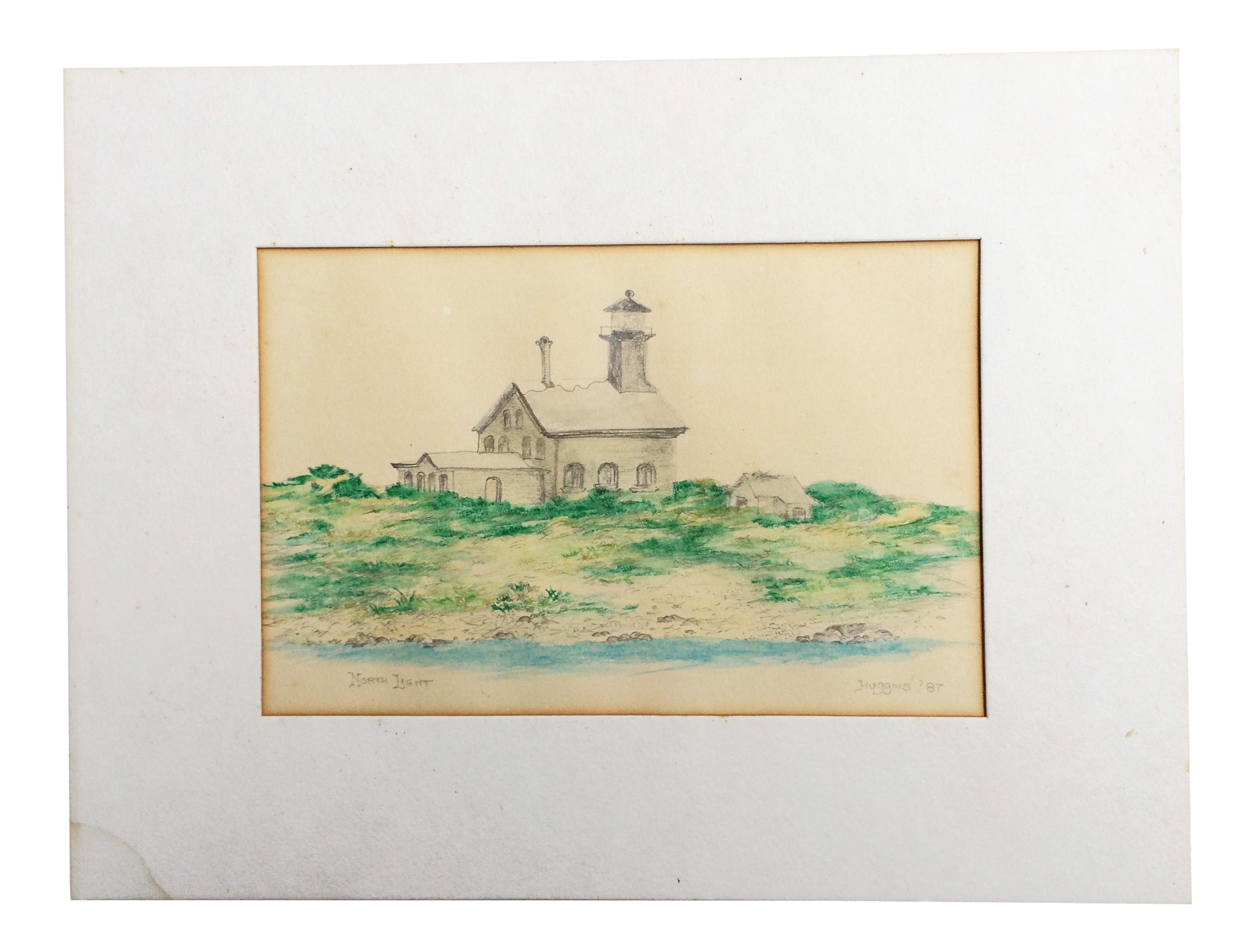 Rocky drawing original. Vintage north light coastal