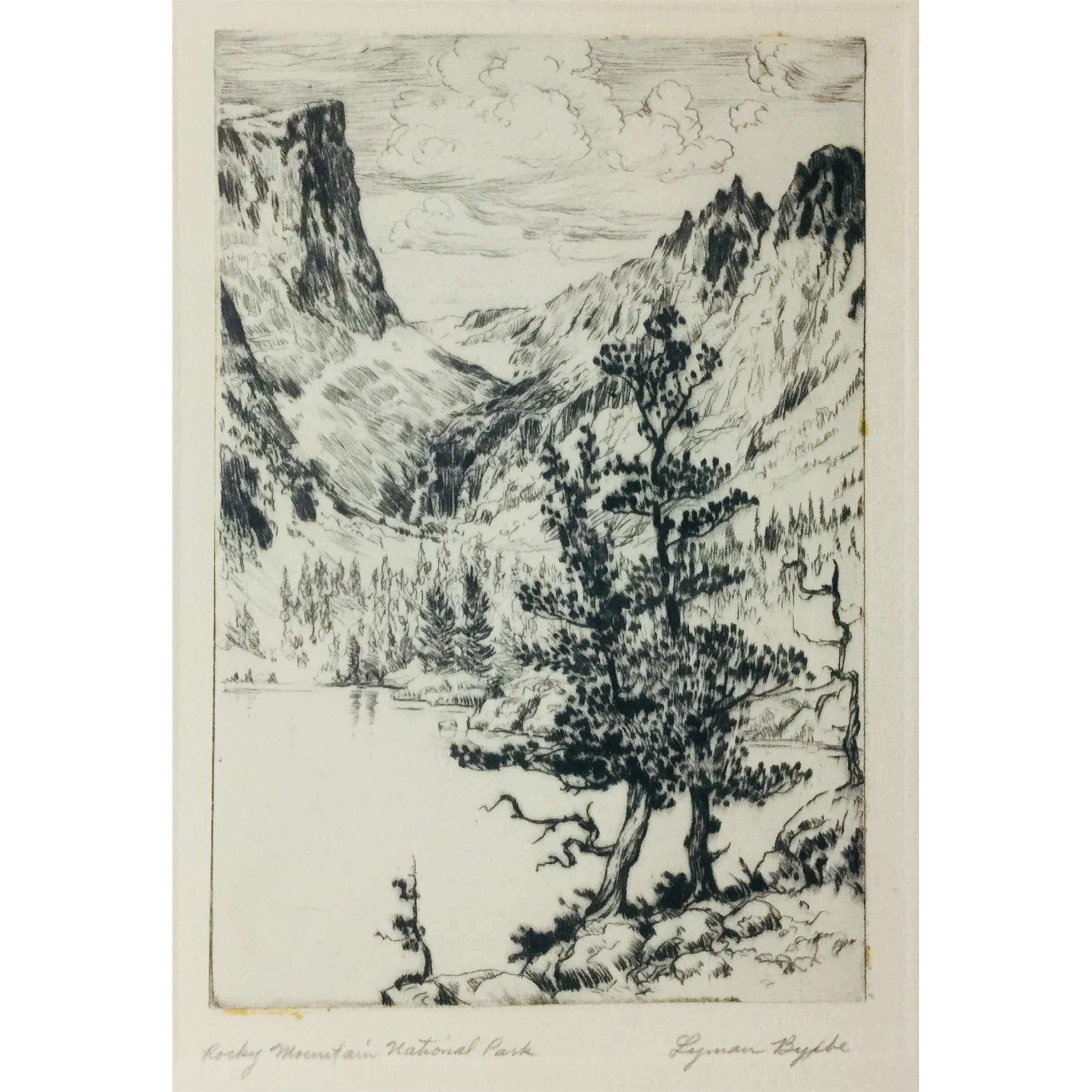 Lyman byxbe etching mountain. Rocky drawing original picture freeuse stock