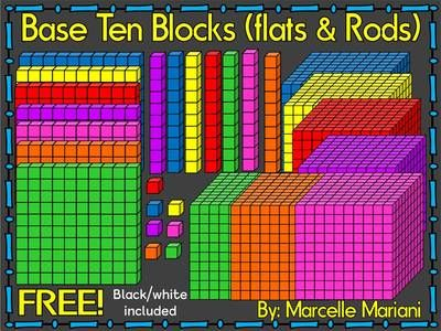 Rod clipart base ten. Free blocks flats and