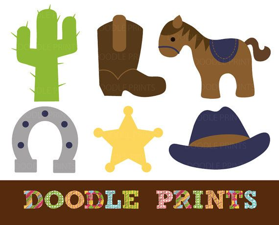 Cowboy digital clip art. Western clipart rodeo picture library