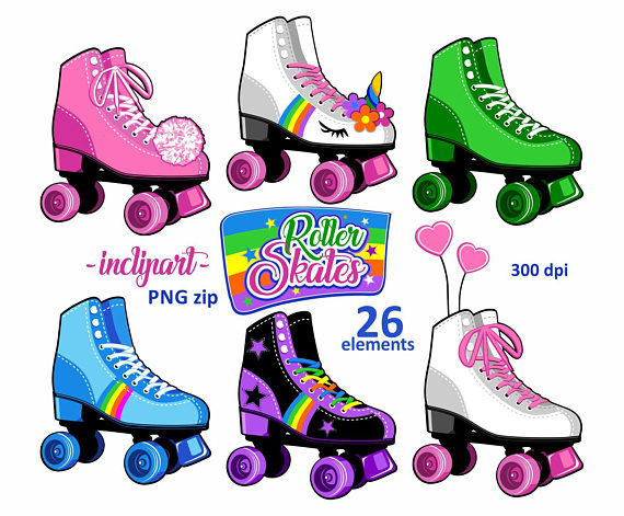 Roller clipart. Skates party colorful skate