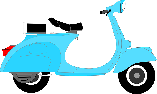 Blue scooter. Free wheel cliparts download