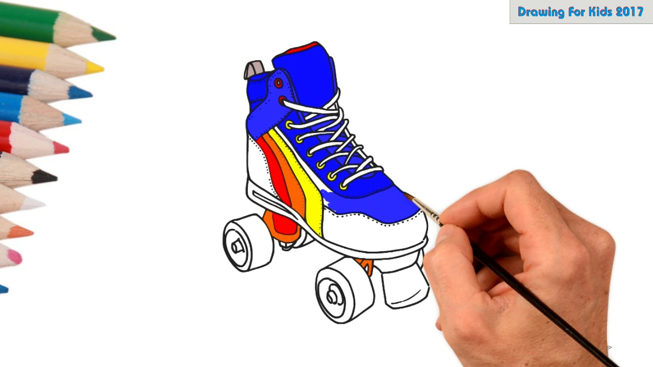 Roller skates clipart colorful. Learn drawing with coloring