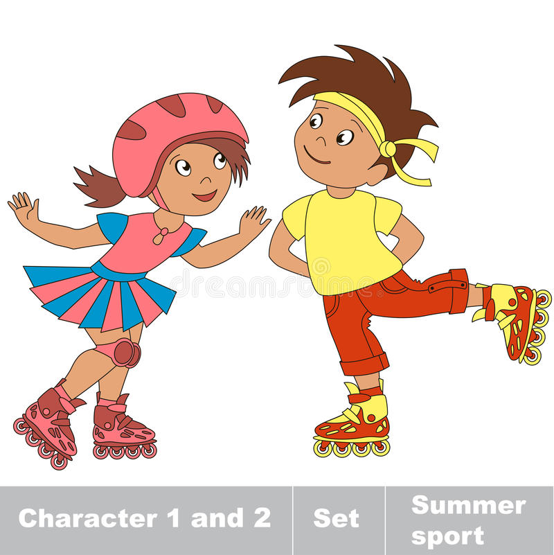 Two young baby boy. Skates clipart small clipart stock