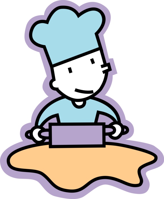 Rolling clipart bakery. Baker rolls dough with
