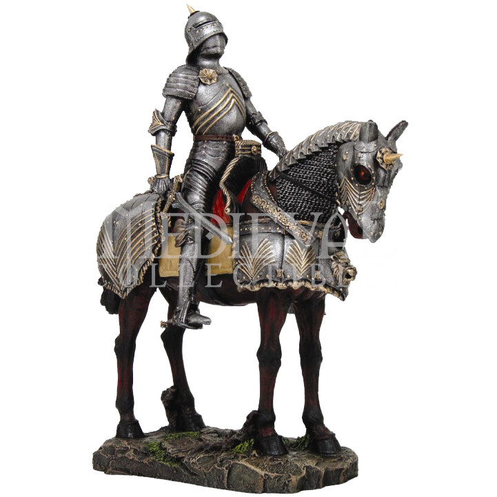 Roman horse statue png. Medieval knight and warhorse