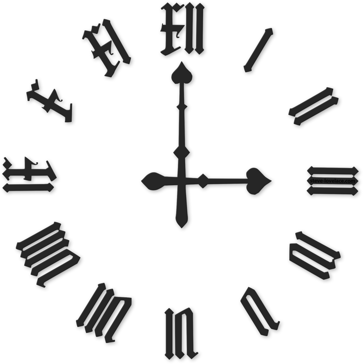 Numbers drawing big. Roman numeral clock png