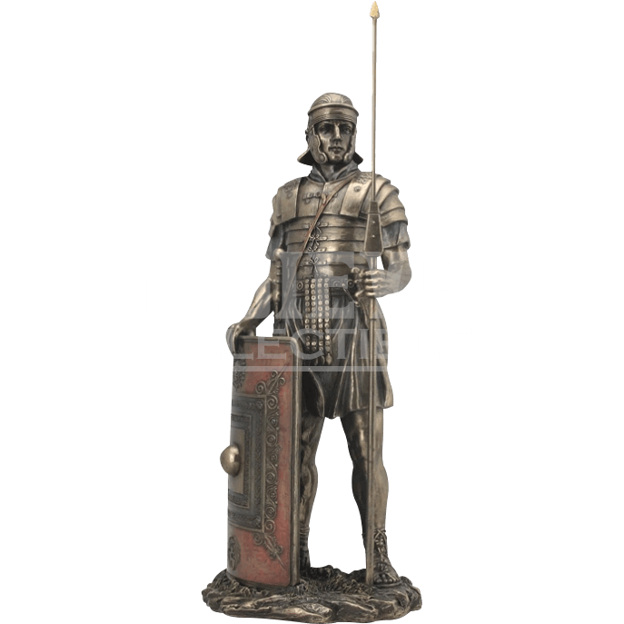 Roman soldier statue png. With javelin and shield
