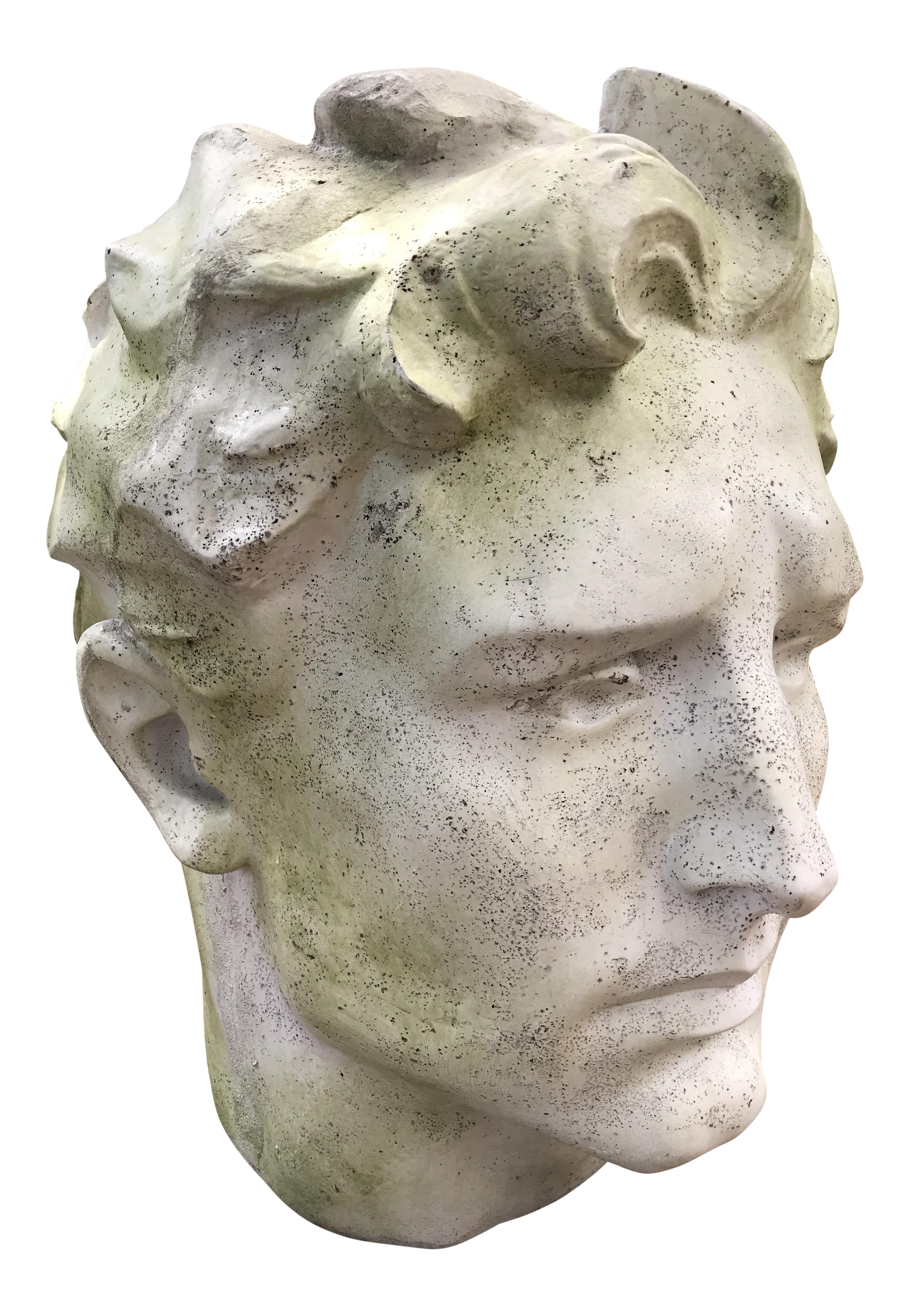 Sculptural drawing david head. Roman god bust planter