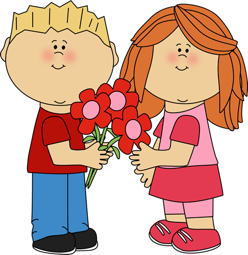 Romantic clip child. Kids with valentine s