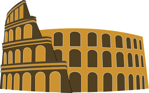 Rome clipart old building. Colosseum simplified brown gold