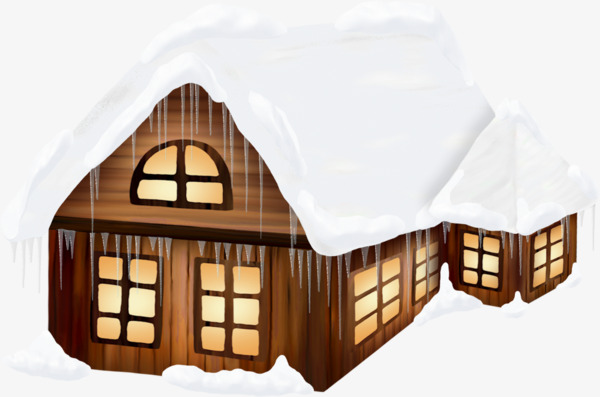 Cartoon wooden house hand. Cabin clipart snow roof png black and white stock