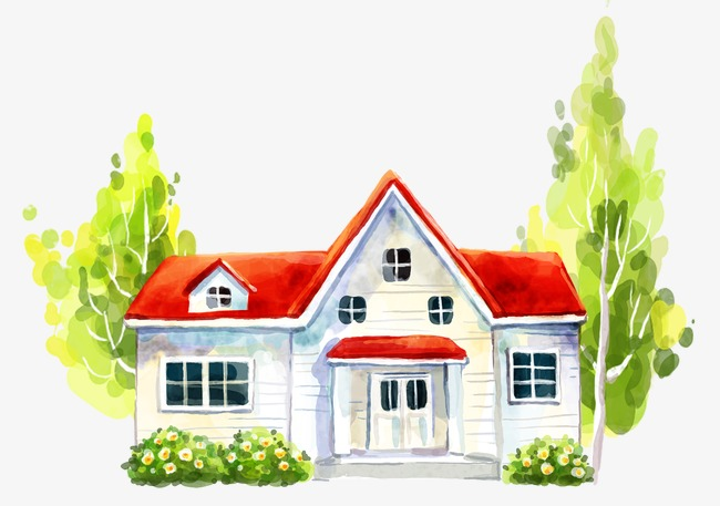 Roofing clipart house paint. Painted red roof hand