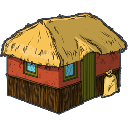 Roofing vector hut. On island vectorhome clipart