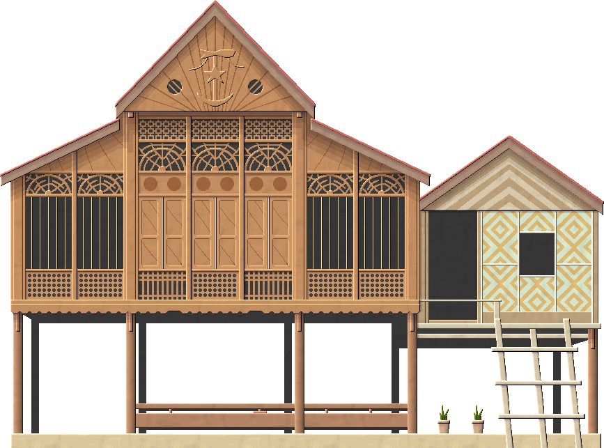 Cottage vector rumah. Malay traditional house by
