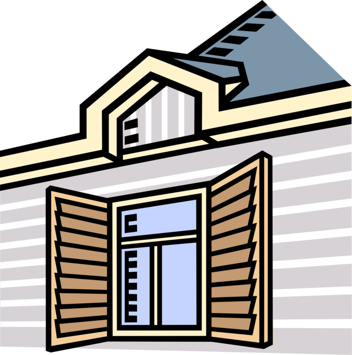 Rooftop vector home window. With shutters image illustration