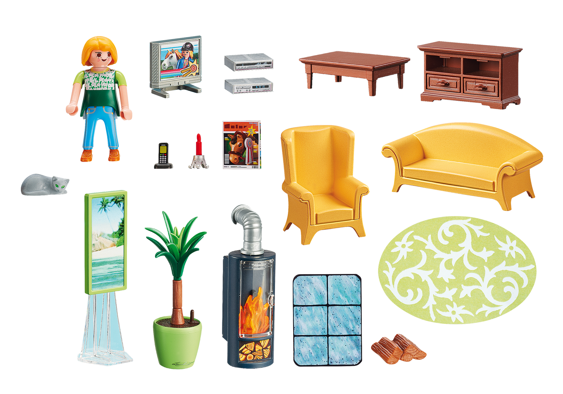Room clipart dollhouse. Living with fireplace playmobil