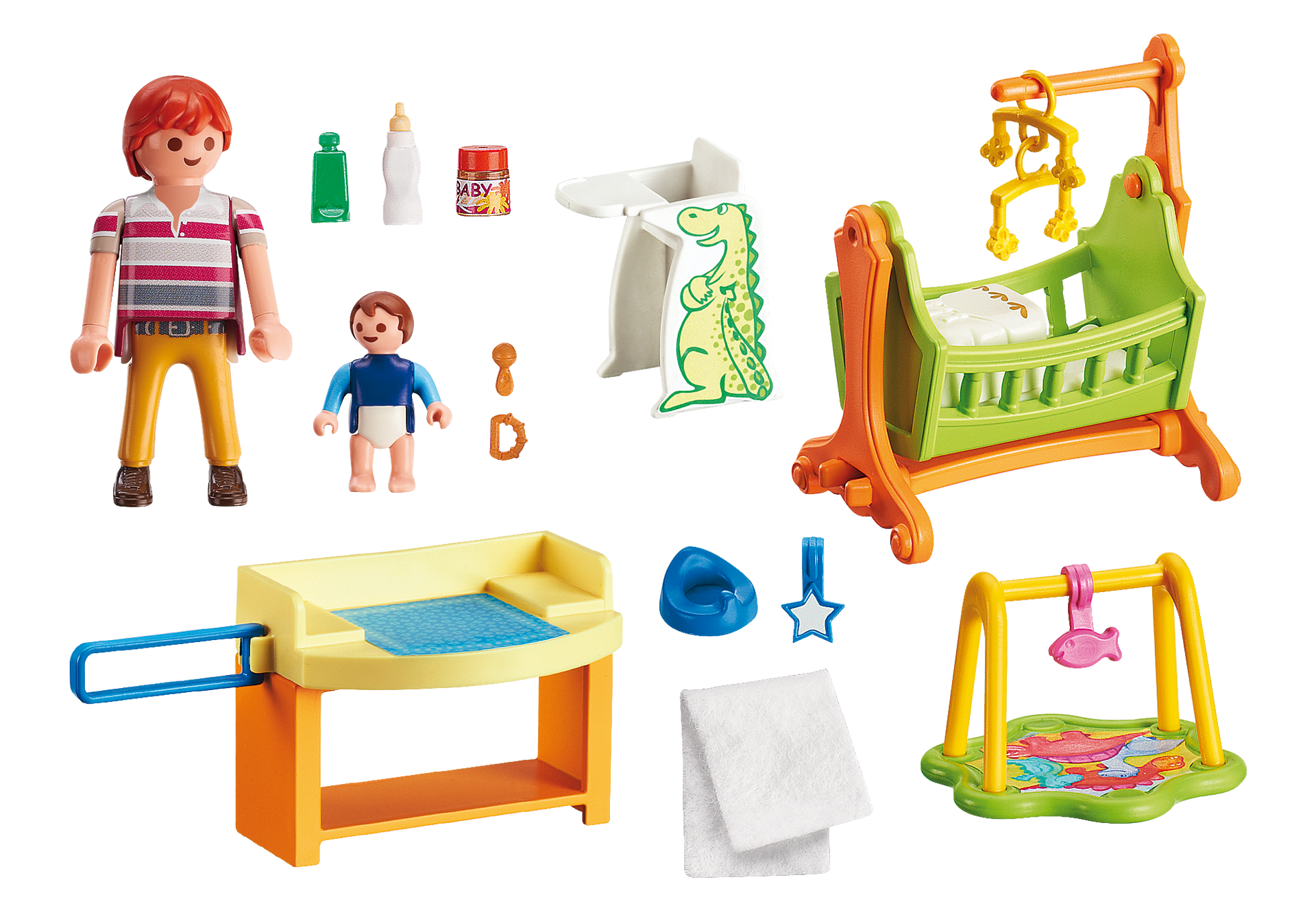 Room clipart dollhouse. Baby with cradle playmobil