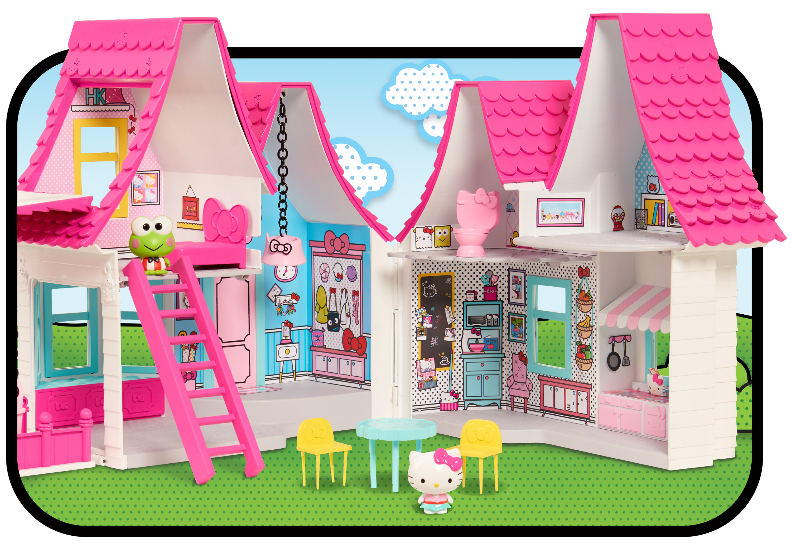 Barbie clip doll house. Hello kitty over inches