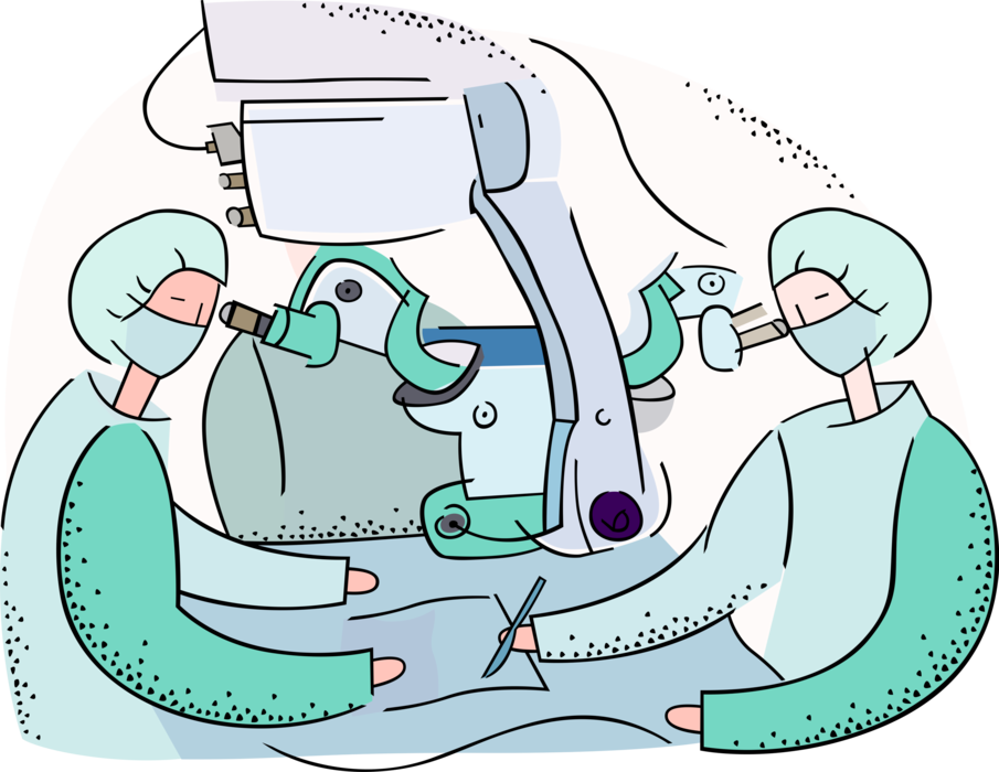 Room vector. Surgeons in hospital operating