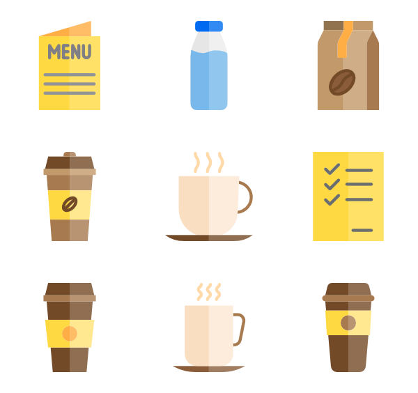 Vector types coffee. Kitchen icons free cooking