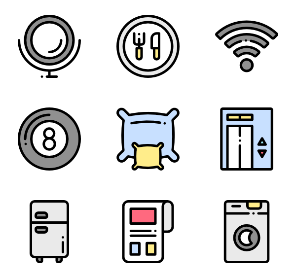 Room vector guest. Hotel icons free services