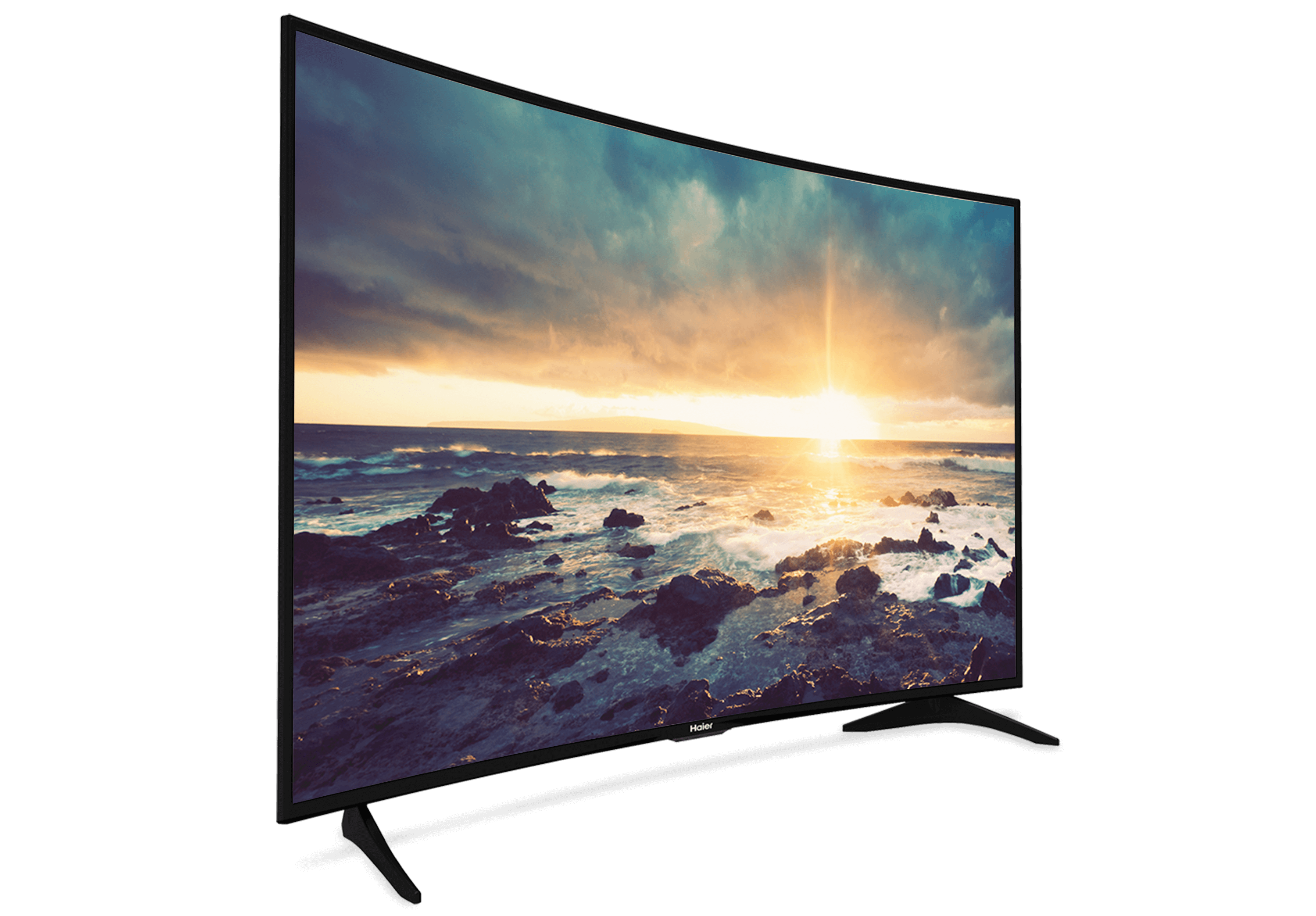 Room vector tv. Features haier curved for