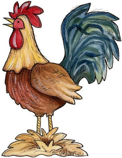 Rooster clipart lame. Pencil and in color