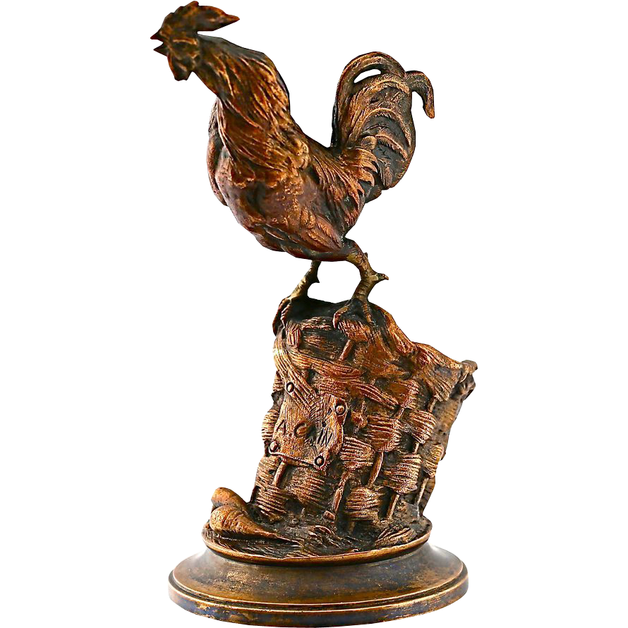 Rooster statue png. Antique french bronze figurine