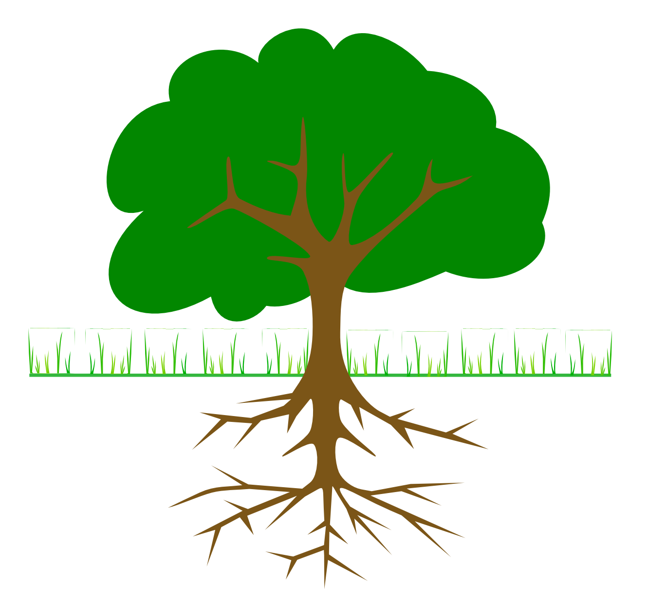 Flower with plant tree. Roots clipart picture library stock