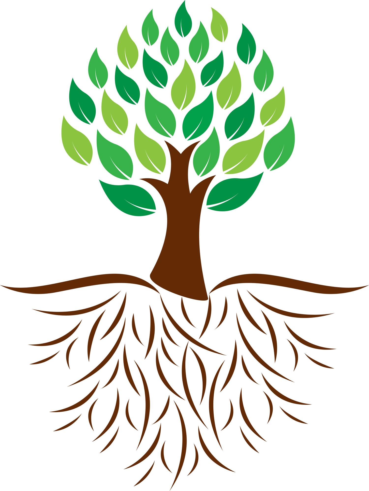 Roots clipart. Tree with